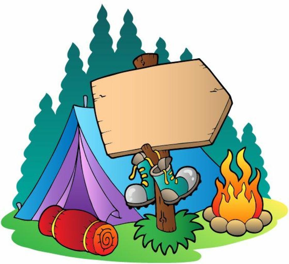 camping clipart retro