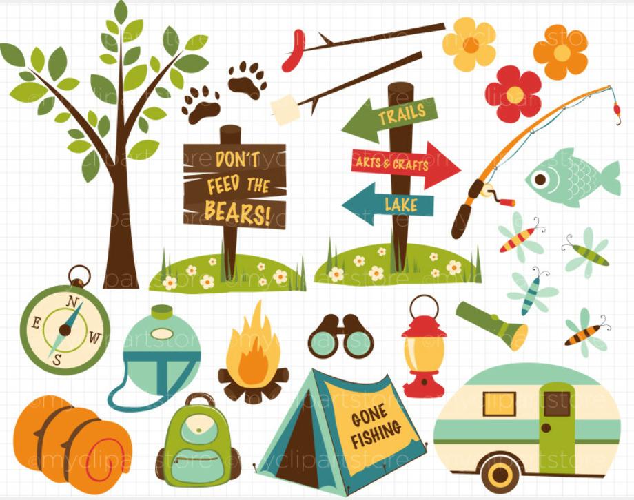 camping clip art cute