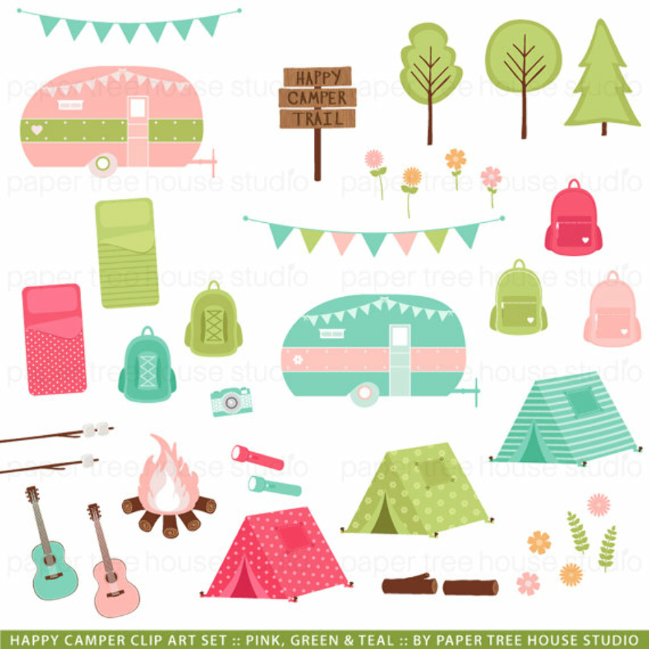 camping clipart pink