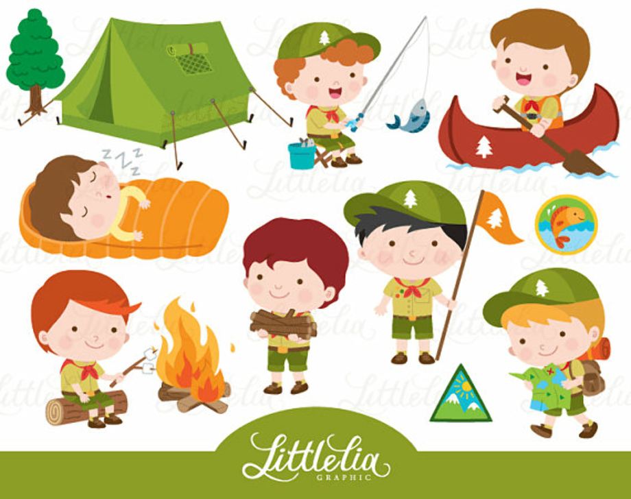camping clipart scout
