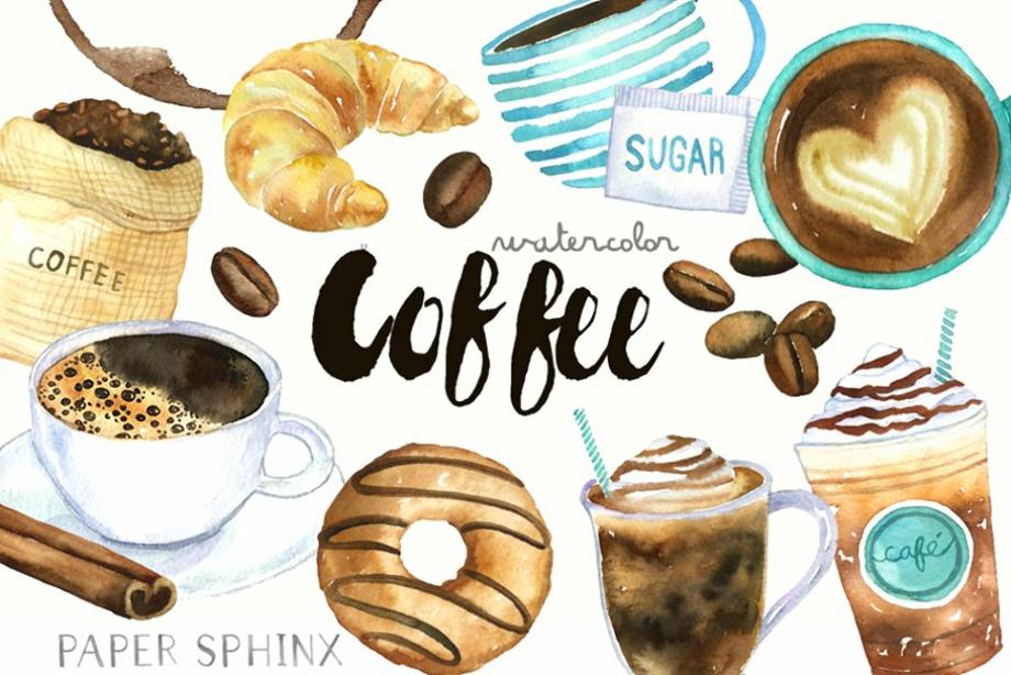 coffee clipart watercolor