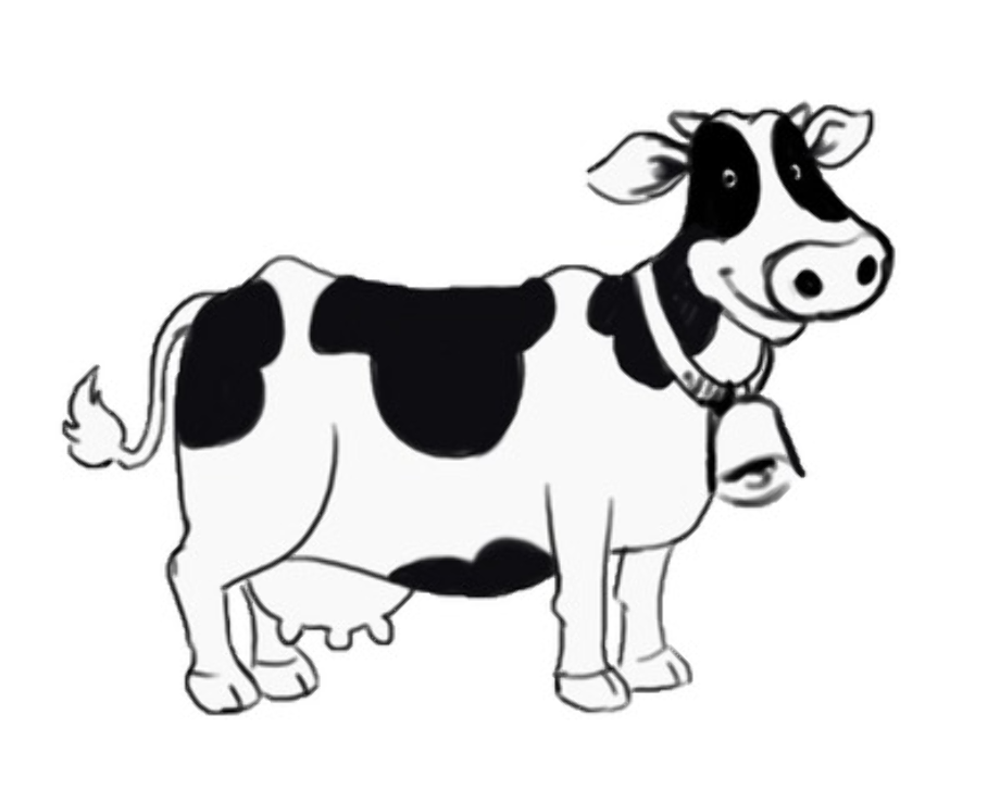 cow clipart black and white cute