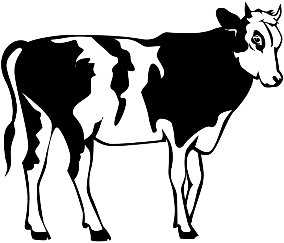 cow clipart black and white simple