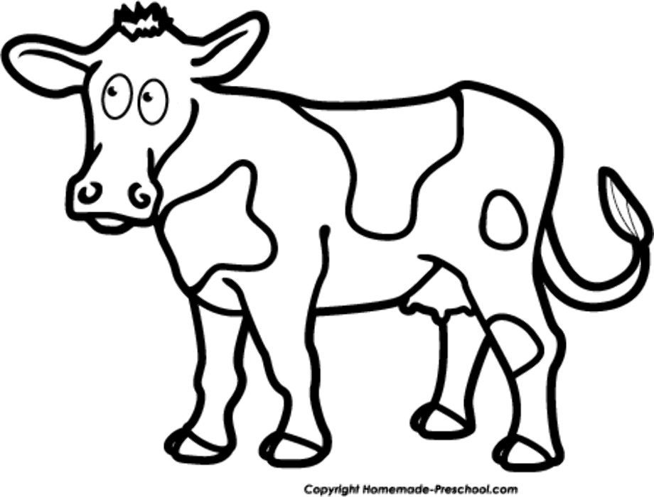 cow clipart black and white coloring