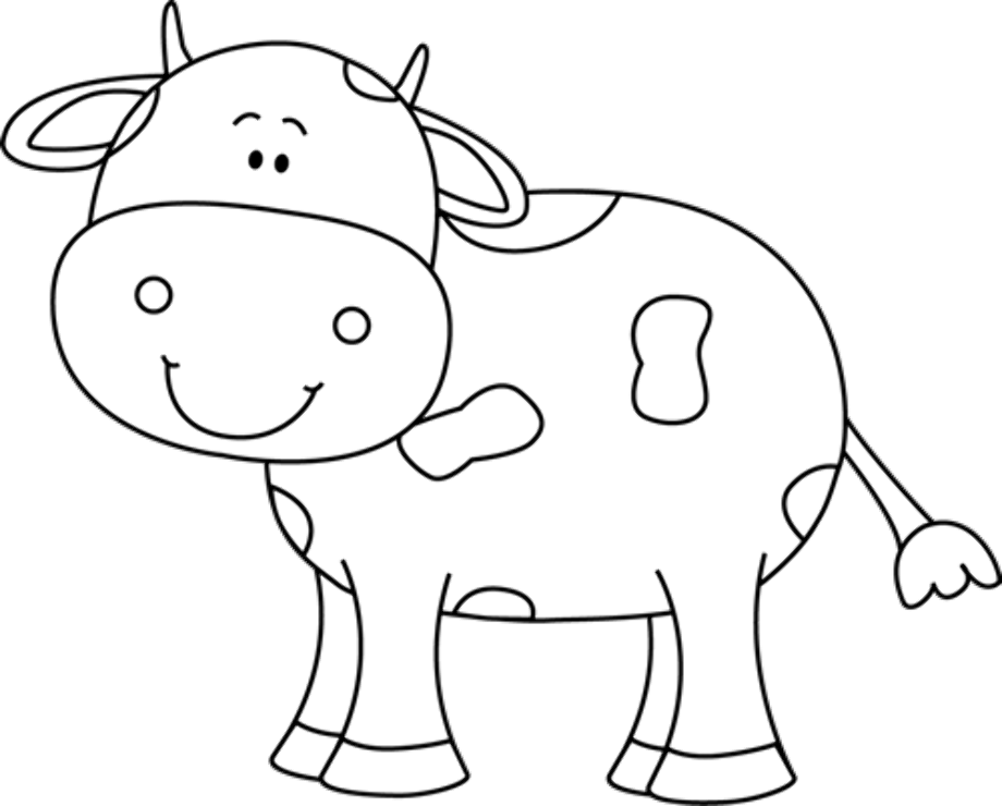 cow clipart black and white cartoon