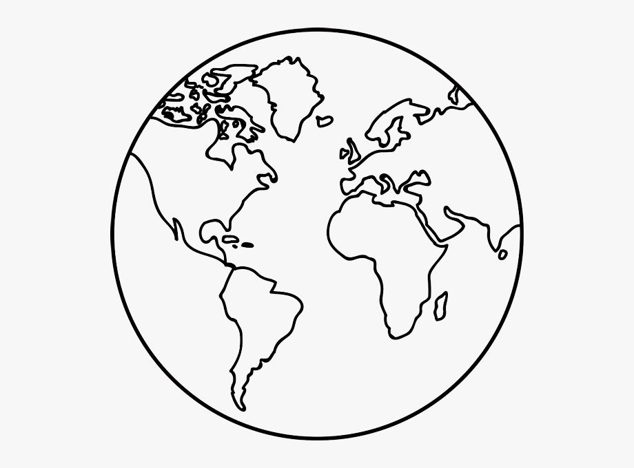 Earth transparent outline world