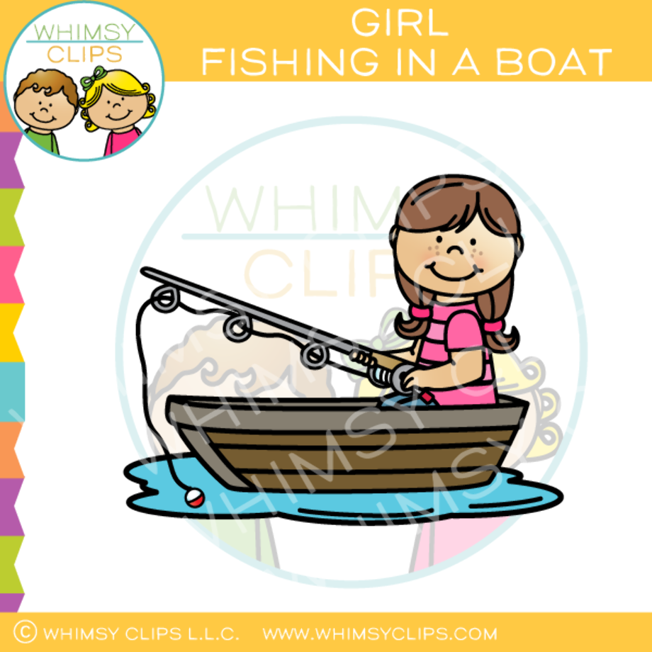 Fishing clipart little girl brownhaired