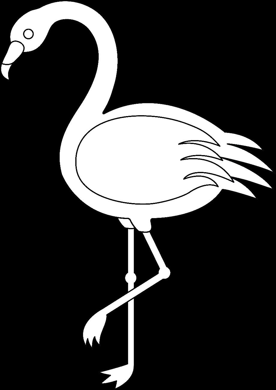 Flamingo clipart white line
