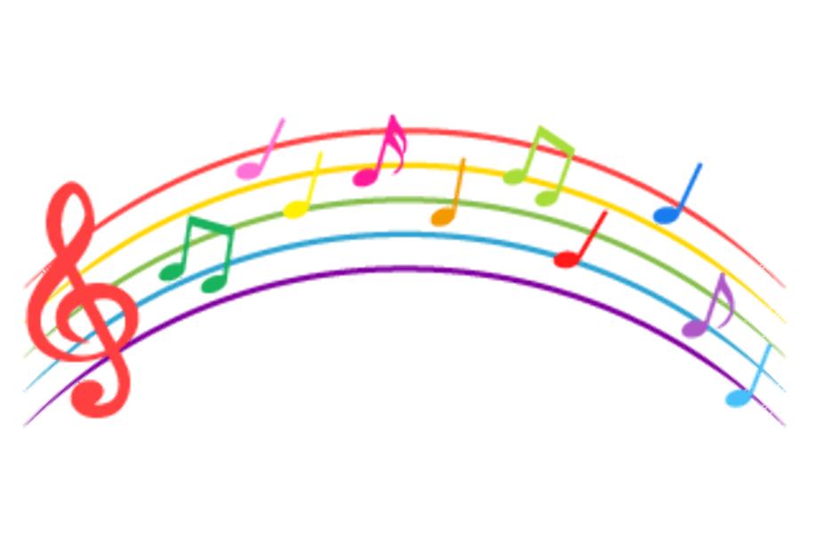 Music notes rainbow