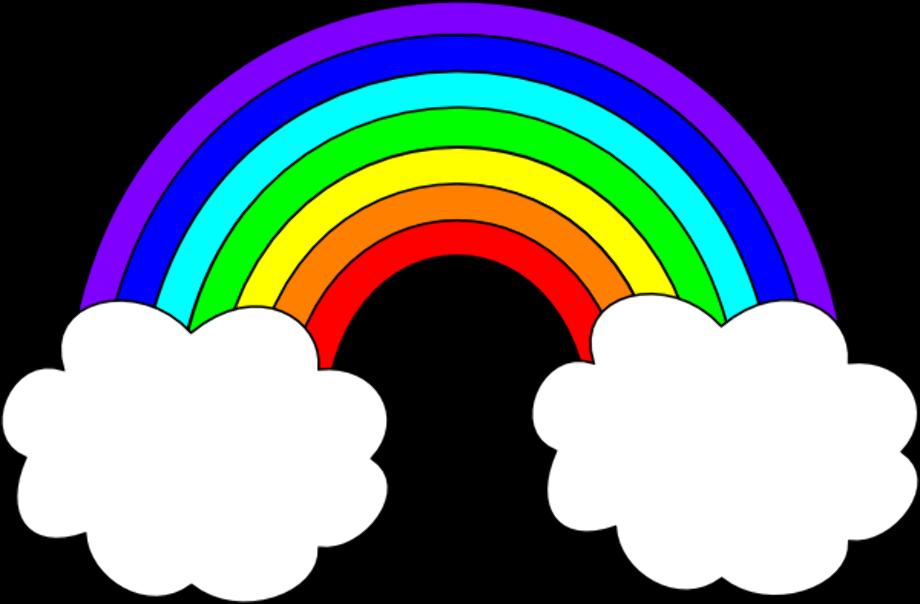 rainbow clipart clouds