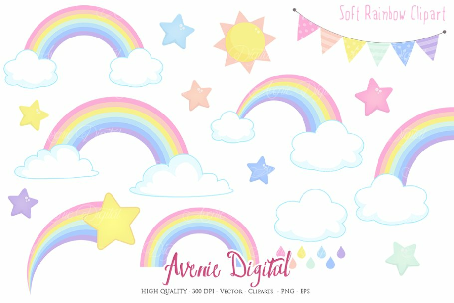 rainbow clipart pastel