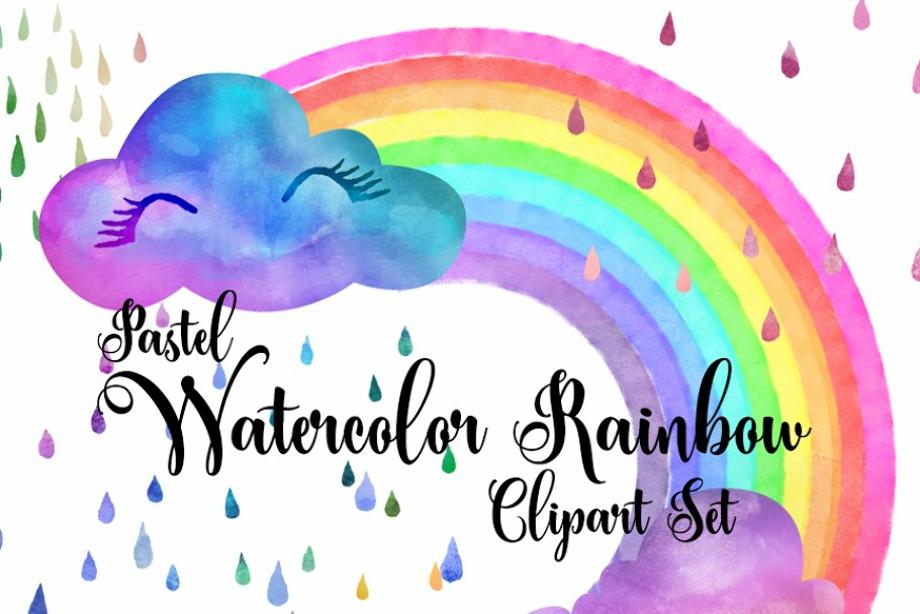 rainbow clipart watercolor