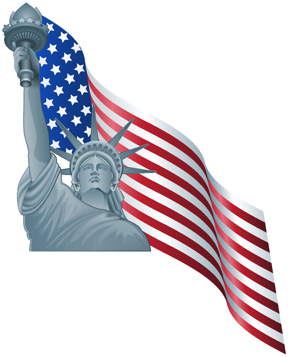 Download High Quality statue of liberty clipart flag ...