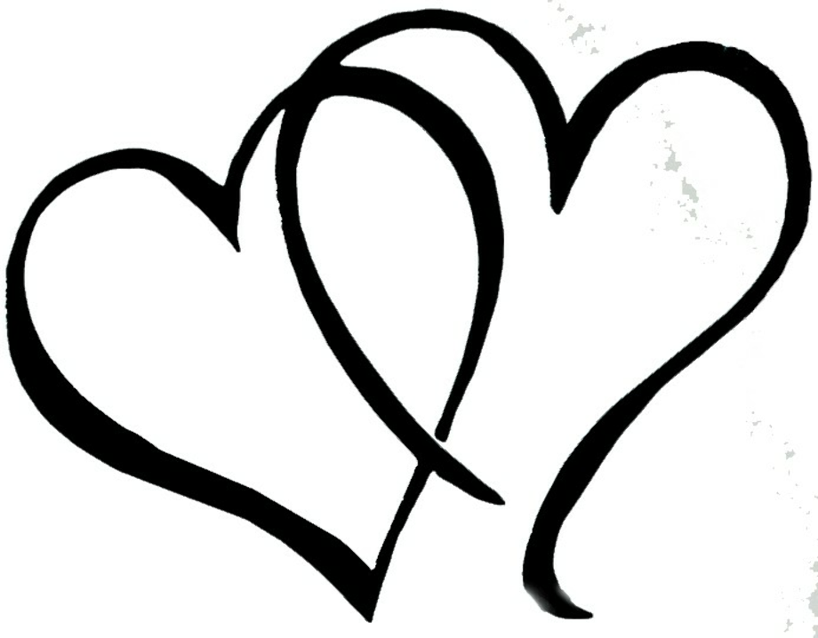 Heart black and white double