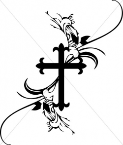 cross clipart black and white floral
