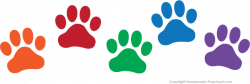paw prints clip art rainbow