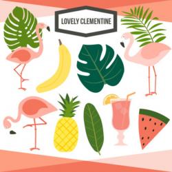 flamingo clip art pineapple