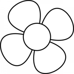black and white flower clipart small