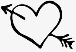 arrow clipart black and white heart