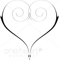 heart clipart black and white fancy