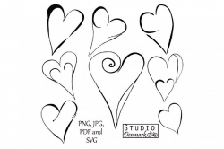 heart clipart black and white doodle