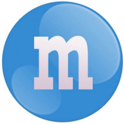 m&m logo blue