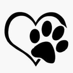 paw prints clipart heart