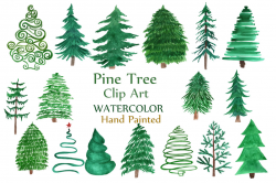 pine tree clipart watercolor