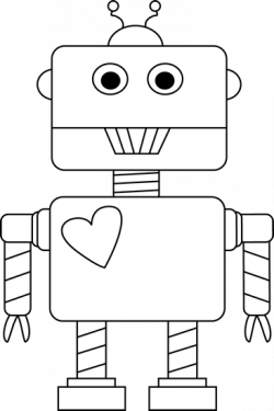 robot clipart line drawing