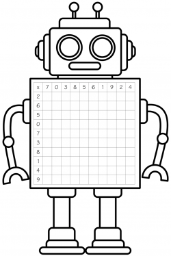 robot clipart black and white