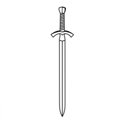 sword clipart outline