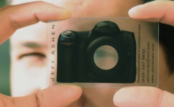 transparent business cards camera